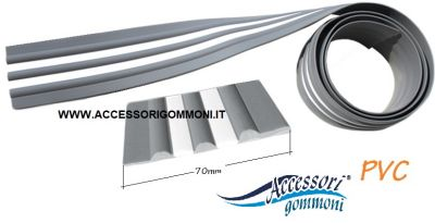 BOTTAZZO PER GOMMONE IN PVC GRIGIO INSERTO BIANCO 70mm