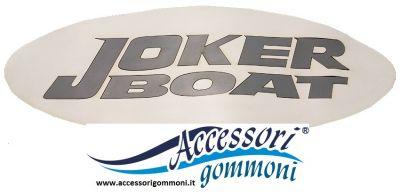 LOGO SCRITTA PER GOMMONE JOKER BOAT 10x15cm FONDO BIANCO INTERNO GRIGIO  IN TESSUTO NEOPRENE O PVC