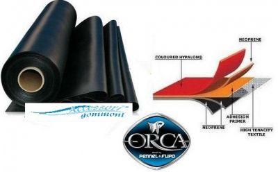 "TESSUTO GOMMATO 828 ""BLACK"" ORCA NEOPRENE/HYPALON 1300 DENARI ALT 145 CM"