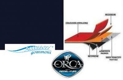 """TESSUTO GOMMATO ORCA 215 """"BLACK"""" ORCA NEOP./HYPALON 1000dn 150cm PER GOMMONI"""