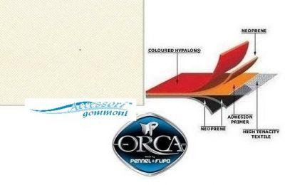 """TESSUTO GOMMATO ORCA 215 """"ICE WHITE"""" NEOPRENE/HYPALON 1000DN h150cm PER GOMMONI"""