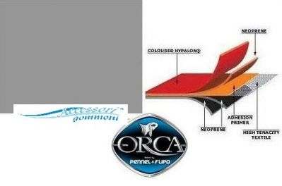 """TESSUTO GOMMATO ORCA 828 """"NEPTUNE GREY"""" NEOPRENE/HYPALON 1300 DENARI PER GOMMONI 100cm x 145cm"""